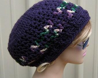 Slouchy beanie, smaller dread tam hat, Hippie Dreadlock Hat, dusty purple slouch beanie, women hat, crochet beanie