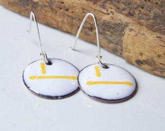 REDUCED Enamel Earrings, Enamel Disc Earrings, Enamel on Copper, Etsy Jewelry, Copper Enamelled, White and Yellow Enamel, Etsy, Etsy Jewelry