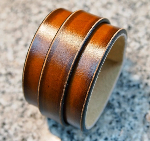 Leather bracelet Sunset Tan fade cuff wristband Handmade for YOU in USA by Freddie Matara!