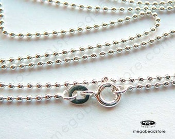 30 inch 925 Sterling Silver Bead Chain 1.5mm Finished Necklace FC22