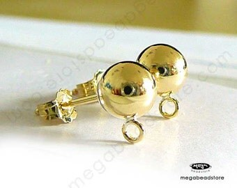 2 Pairs 6mm Gold Filled Ball Earring Posts w/ Backing Earnuts F58GF