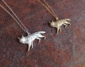 silver coyote necklace gold coyote necklace 14kt gold filled or sterling silver chain