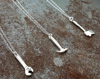 sterling silver axe necklace | hammer necklace | crescent wrench necklace | charm necklace | gift for her