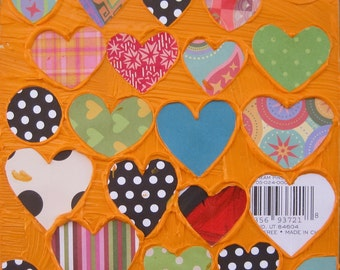 Heart Collection in Orange....Original collage by Michelle Daisley Moffitt