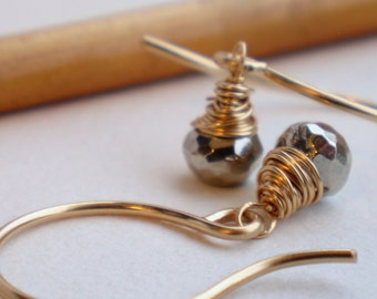 FREE Shipping. Itsy Bitsy Pyrite Dangle Earrings. Artisan. Pyrite. Jewelry.