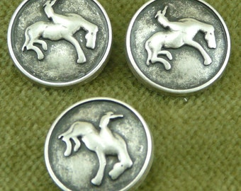 Large Antique Silver Bronco Bucking Button in Country Western Design   B33