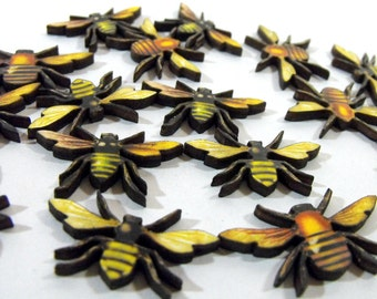 Bee Swarm -  A Collection of 16 Wooden Bees