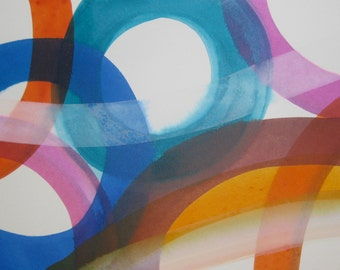 Overpass ll original contemporary abstract painting on paper