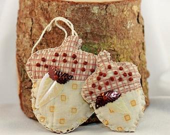 Nature Series - Fresh Maine Balsam Sachets - Beaded Acorn Pair -  Quilty Tokens