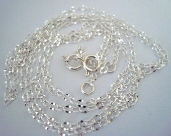 "2.5x 3.5mm Solid 925 bright sterling silver chain necklace nickel and lead free 16"" 18"" 20"" 24"" 30"" 36"" 38"" 40"""