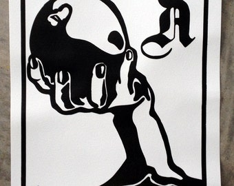 "Hand Pulled Screenprint of Poison Apple Tree ""A"" MEDIEVAL POP"