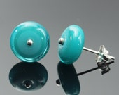 Large Glass Stud Circle Earrings in Turquoise and Teal