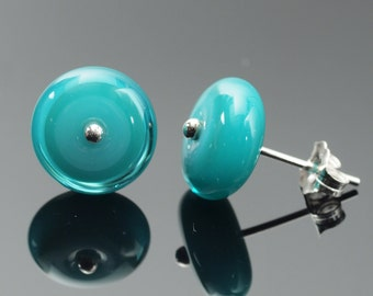 Small Stud Circle Earrings in Turquoise and Teal