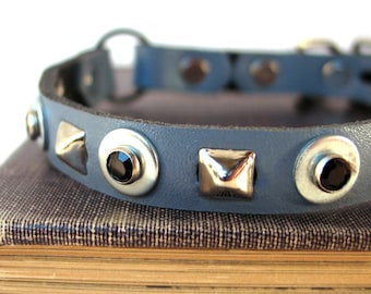 Steel Blue Leather Cat Collar with Black Gems and Pyramid Studs, Size to fit a 8-10 Neck, Eco-Friendly, Seattle Handmade, Safe Collar, OOAK