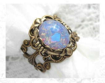 Blue Opal Poetry Ring - Harlequin Art Glass Opal in Antiqued Brass