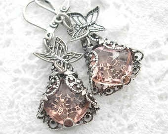 Silver Wings - Filigree Wrapped Rosaline Glass Jewel Earrings with Butterflies