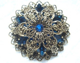 Starflower Victorian Style Brooch Pendant with Chain - Capri Blue Antiqued Brass Ox