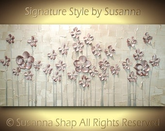 ORIGINAL Modern Abstract Art Metallic Mauve Dusty Pink Flowers Landscape Painting Thick Texture Palette Knife Painting -Susanna 48x24