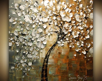 ORIGINAL Large Tree Painting Abstract White Cherry Blossom Tree Painting Thick Texture Gallery Fine Art 30x30 Made2Order