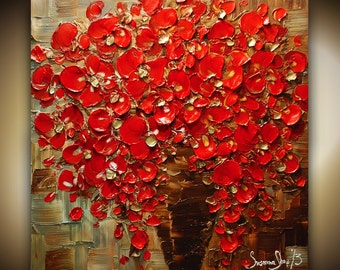 ORIGINAL Contemporary Textured Painting Red Flowers Oil Painting Thick Impasto Bouquet in Vase by Susanna