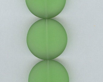 Green Flat Round Sea Glass Focal Beads Set of 5 Seaglass Bead