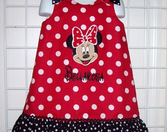 Red Dot Minnie Mouse Minnie FACE Applique Monogram Dress with Black Dot Ruffle