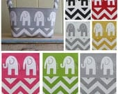 Fabric Storage Bin- Organizer- You Choose The Color- Elephants- Chevron