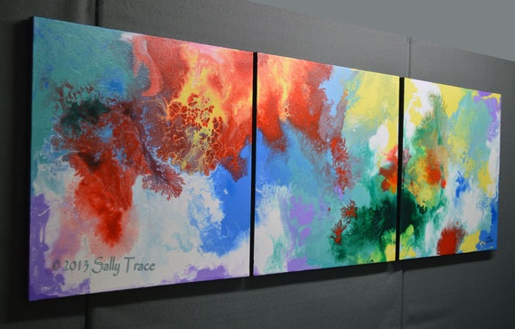 Enhanced Giclee Abstract Paintings, three canvases, 20x60 inches ... Elevation ... by Sally Trace