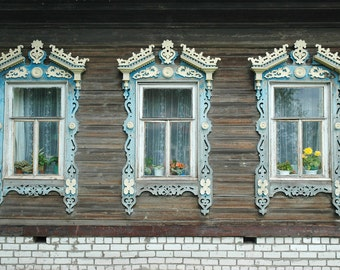 Decorative Russian Window Photography. Woodwork. Dacha, cabin. Ancient architecture. Raw wood, baby blue. Russia.