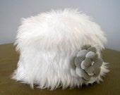 White Faux Fur Baby Prop Toddler Hat. Christening, Baptism and Wedding Baby Accessories Fur Winter Baby Hat