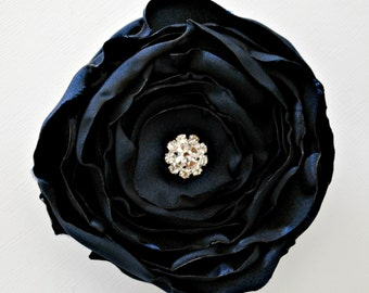 Navy Satin Flower Hair Clip, Hair Accessory, Bridesmaids Hair Accessories, Layered Satin Flower Clip, Handmade Dark Blue Flower, Ruffled