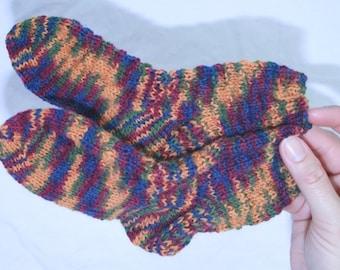 Children's hand knitted socks, size 3-5 Autumn Harvest