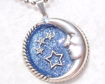 Moon and Stars- Glitter, Resin, and Antiqued Silver Pendant
