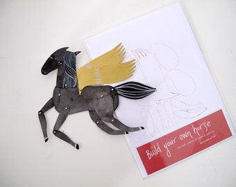 SALE Build Your Own Mini Horse Articulated Decoration SECONDS  SAMPLES  / Hinged Beasts Series