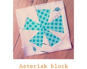 Paper pieced Asterisk block pattern