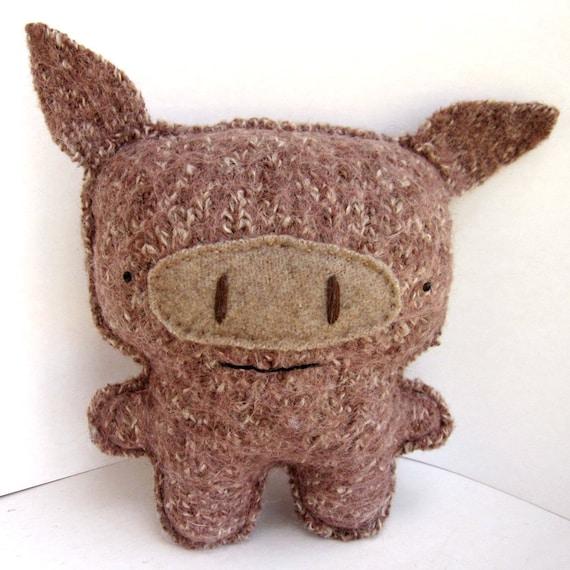 Big Brown Javelina - Recycled Wool Plush Toy