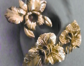 Golden Orchid Ear Wrap   -  ALOHA  -  Intricate Tropical Brass Ear Cuff