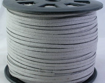 3mm Faux Suede Leather Cord (C17) Gray 15 feet for Crafts Jewelry Bracelets Necklace Stringing Suede Lace