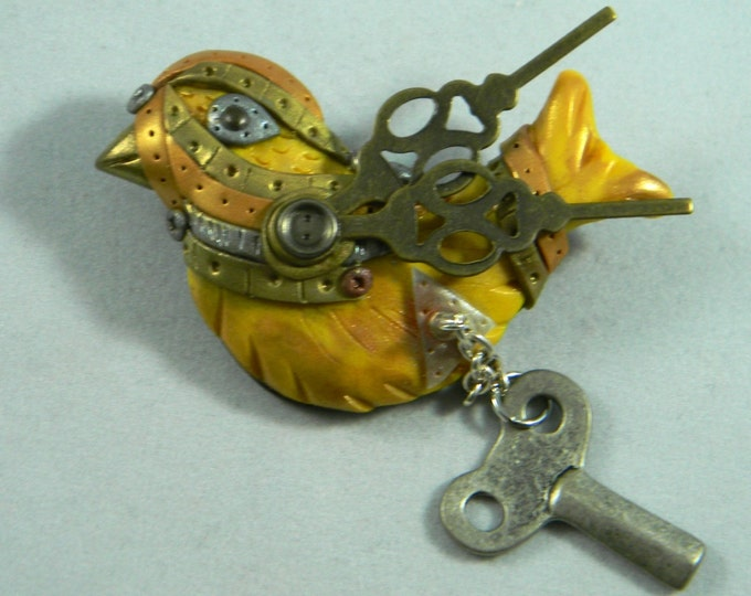 Steampunk Song Bird brooch/ pin with key yellow, blue, green