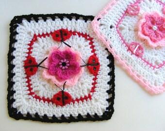 """Crochet Ladybug Afghan Square - 9"""" Afghan Square - Childrens Ladybug Crochet Pattern PDF - Instant Download - No 59"""