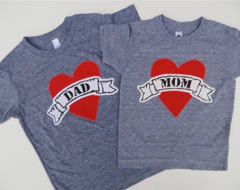 Mother's Day Father Son or Daughter Fathers Day Mom Heart Tattoo Shirt valentines day shirt