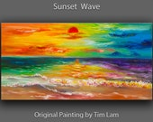 Sea art Abstract Painting Original Acrylic Painting Colored sky sunset wave seascape landscape painting by tim Lam 48x24