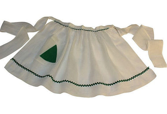 Vintage Half Apron - White Organdy with Green Ric Rac - Pretty