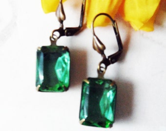 Vintage Peridot Transparent Glass Earrings, Handmade, Antique Brass Setting