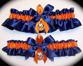 New York Islanders Wedding Garter Set  Handmade  Keepsake and Toss   Satin NO