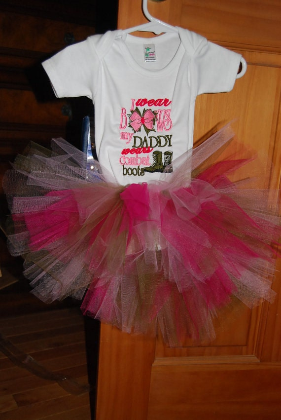 I Wear Bows My Daddy Wears Combat Boots Bodysuit T-shirt Embroidered Childrens Size  Army Military Navy TUTU Hairbow