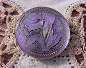 Lavender Pink Lace Tulip Czech Glass Button