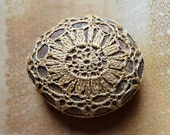 Gift Ideas, Gardener, Crochet Lace Stone, Holidays, Decor, Table Decoration, Handmade, Original, Collectible, Gold, Brown, Woodland