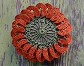 Art Object, Mixed Media, Original, Crochet Flower, Lace Stone, Handmade, Table Decorations, Home Decor, Orange, Green
