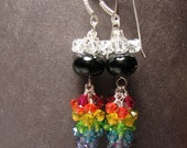 RESERVED FOR LISA 6 color rainbow earrings lampwork beads, swarovski crystal cascades and silver charms - Rainbow
